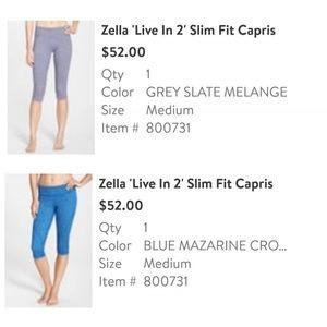 Blue Zella 'Live In 2' Slim Fit Capris